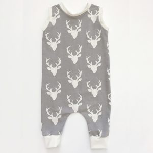 Buck Snap Free Romper for Kids. Deer Print Romper. Modern Children's Clothing. Handmade One Piece for Children.